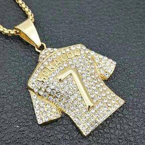 Hip Hop number 7 jersey pendant necklace micro pave zircon crystal ice out men's charm jewelry gift