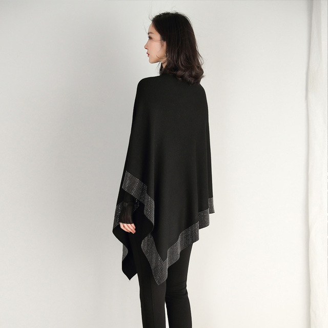 2019 women retro cape coat female cloak autumn 2019 new diamond knitted shawl sweater loose bat sleeve temperament 10