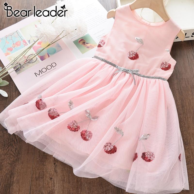 Bear Leader Girls Dresses Kids Clothing Girls Sweet Cherry Sequins Beautiful Sleeveless Mesh Princess Dress Bow Party Clothes