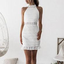 Vestido corto femenino de encaje sin mangas para verano, minivestido ceñido para fiesta de cóctel, color Blanco, 45 #