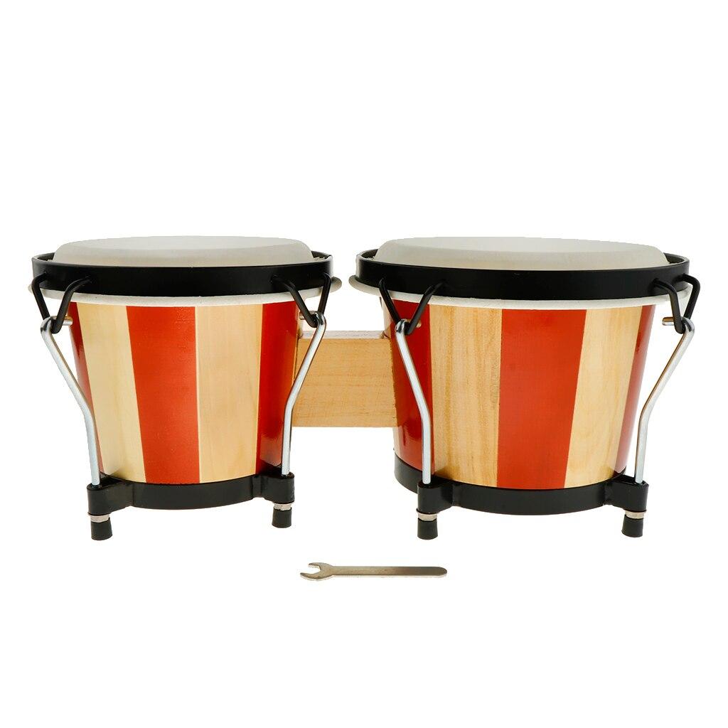Bois Bongo tambour 6.5 pouces + 7.5 pouces enfants Percussion jouet maternelle matériel pédagogique Instruments de Percussion