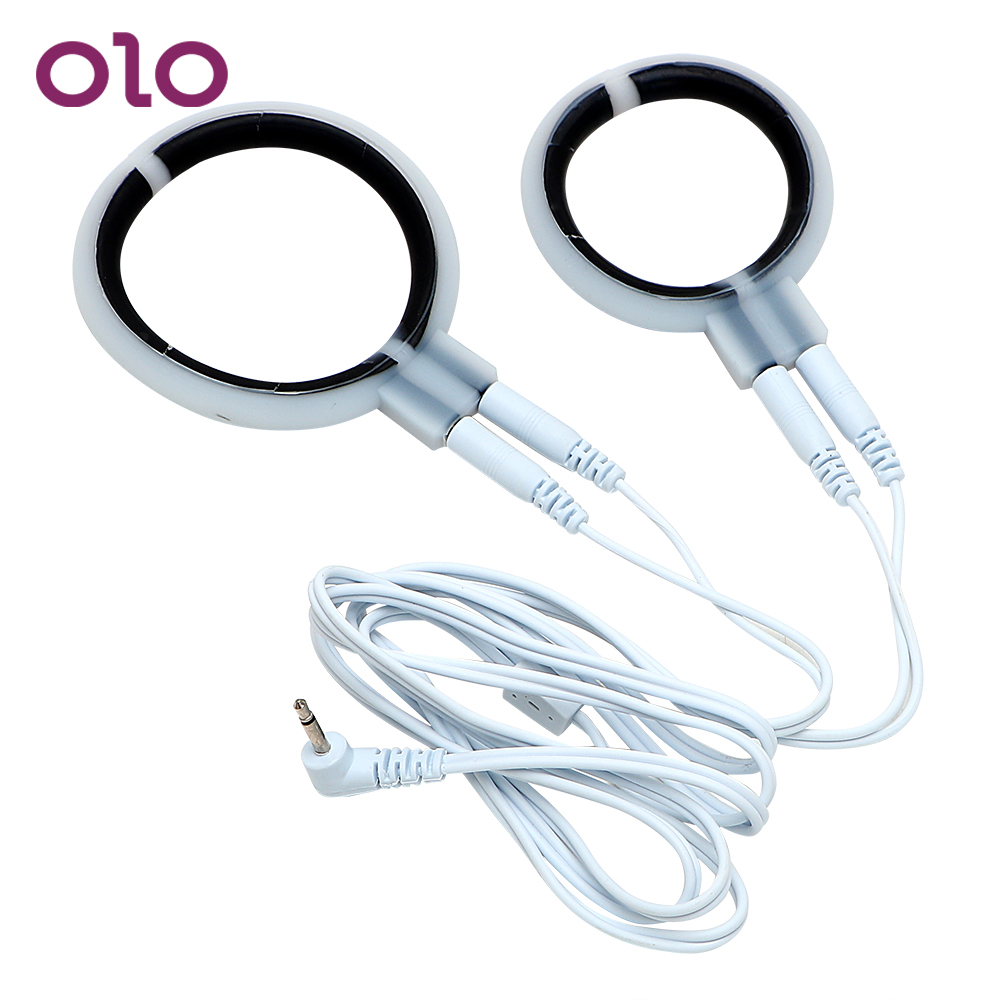 OLO Electric Shock Physiotherapy <font><b>Ring</b></font> <font><b>Penis</b></font> <font><b>Rings</b></font> Climax <font><b>Sex</b></font> Products <font><b>Sex</b></font> <font><b>Toys</b></font> for Men Male Therapy Massager image