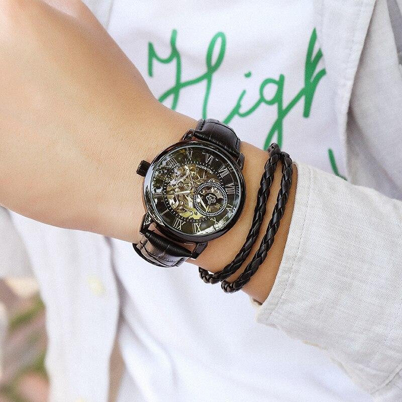 H6c51f5e7e3d043ab97b8d98be0273fd2E Coupons Sale Men Watches Mechanical Hand Wind Luxury Top Brand ORKINA Skeleton Stainless Steel Bracelet Mesh Strap Men's Watches