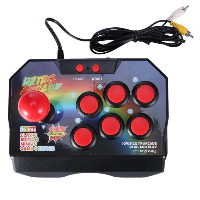 Arcade Console Joystick Game Controller AV Plug Gamepad with 145 Games for TV Gamepad Wired Controller Plug 6 Function Keys