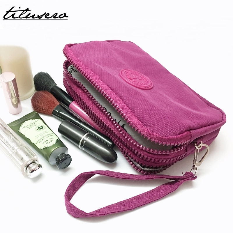 3 Zippers Makeup Bags With Multicolor Pattern Cute Cosmetics Pouchs For Travel Ladies Pouch Women Cosmetic Bag F035