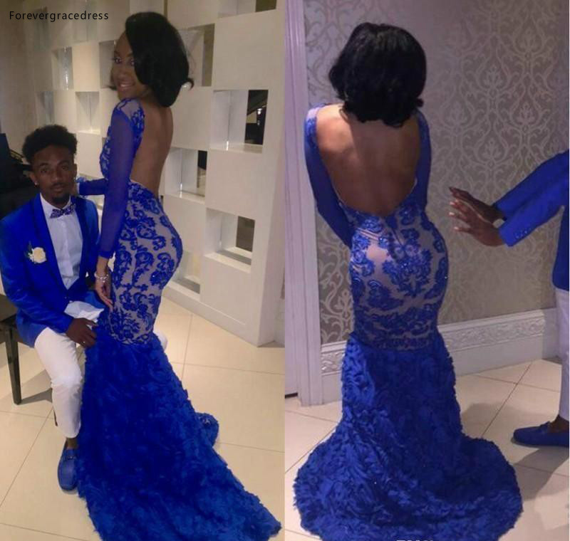 2019 Royal Blue Lace   Prom     Dress   Mermaid Bateau Long Formal Pageant Holidays Wear Graduation Evening Party Gown Plus Size