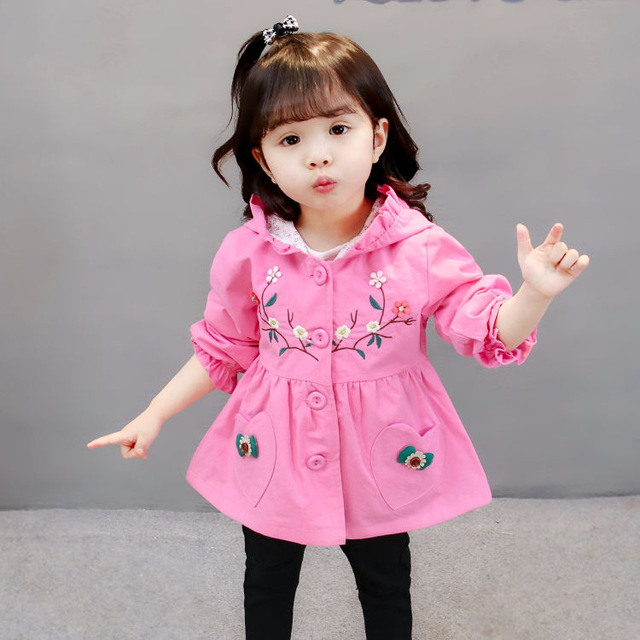 BibiCola Little Girl Hooded Outerwear Children Kids Flower Coat Jacket