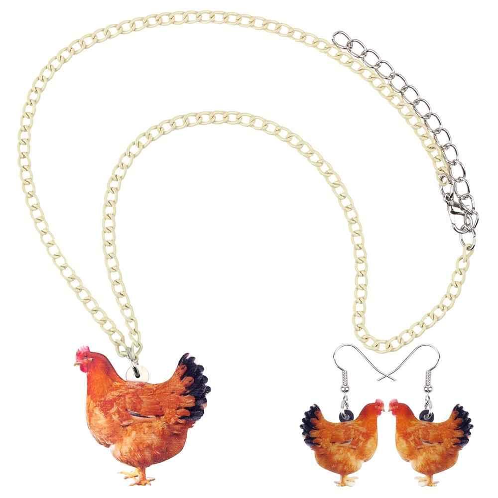 Bonsny Acryl Schmuck Set Französisch Bulldog Hund Halskette Ohrringe Kragen Mode Tier Anhänger Für Frauen Mädchen Zubehör NE + EA