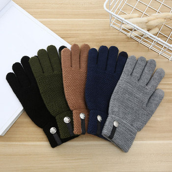Unisex Winter Ribbed Knitted Full Fingered Gloves Women Men Touch Screen Gloves Men Thicken Lining Mittens Thermal Wrist Gloves image