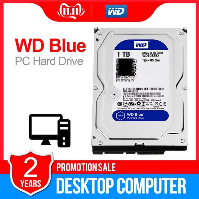 1 to WD Blue 3.5 SATA3 bureau hdd 6 GB/s HDD sata disque dur interne 64M 7200PPM disque dur de bureau hdd pour PC WD10EZEX