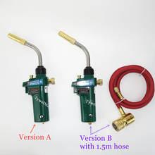 Mapp-antorcha de soldadura piezoeléctrica de ignición, herramienta de soldadura de llama de Gas, manguera de 1,5 m CGA600, barbacoa, calefacción, enfriamiento, HVAC, fontanería, soplete de soldadura