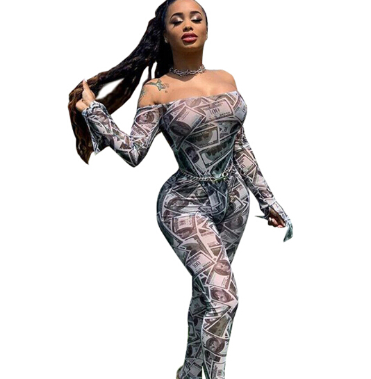 NEW Women's Fashion Off Shoulder Jumpsuits Leopard Strip Printed Summer Casual Fitness Long Jumpsuit Sexy Clubwear