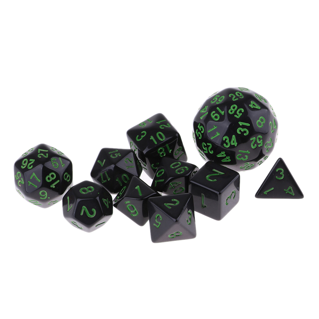 10 Pieces Multi Side Polyhedral Dice Sets for Dungeons and Dragons Role Playing Games image
