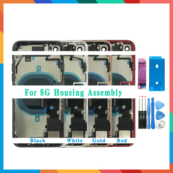 AAA Back Cover For iphone 8 8G or 8 Plus X Back Middle Frame Chassis Full Housing Assembly Battery Cover Glass with Flex Cable