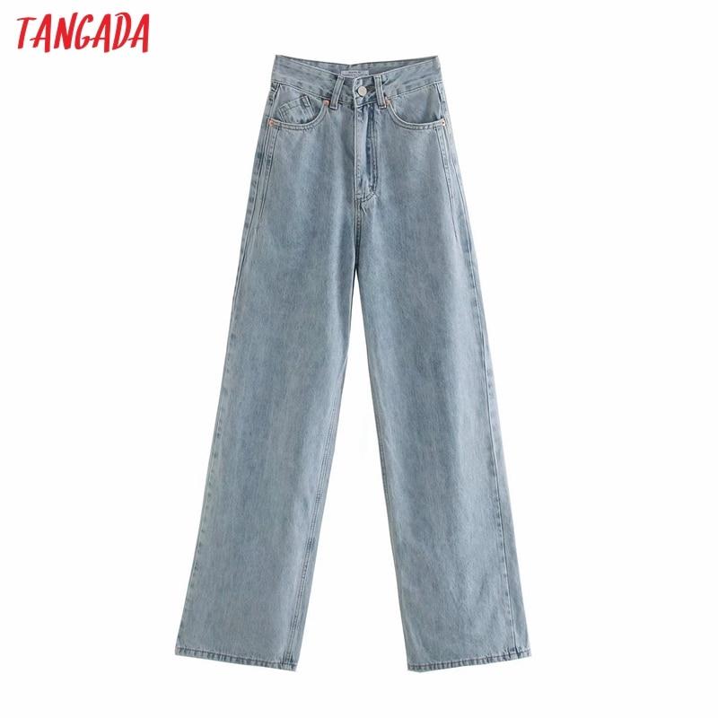 Tangada 2020 women high waist overlength jeans pants trousers pockets zipper female wide leg denim pants 4M520 3