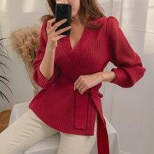 HAMALIEL, Новое поступление, корейская мода, Женский вязаный пуловер на шнуровке, джемпер, Осень-зима, красный, длинный рукав, сексуальный, v-образный вырез, свободные свитера