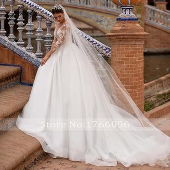 Fmogl Vestidos De Noiva Long Sleeve Lace Princess Wedding Dress 2021 Sexy Illusion Applique Beaded Court Train A Line Bride Gown 3