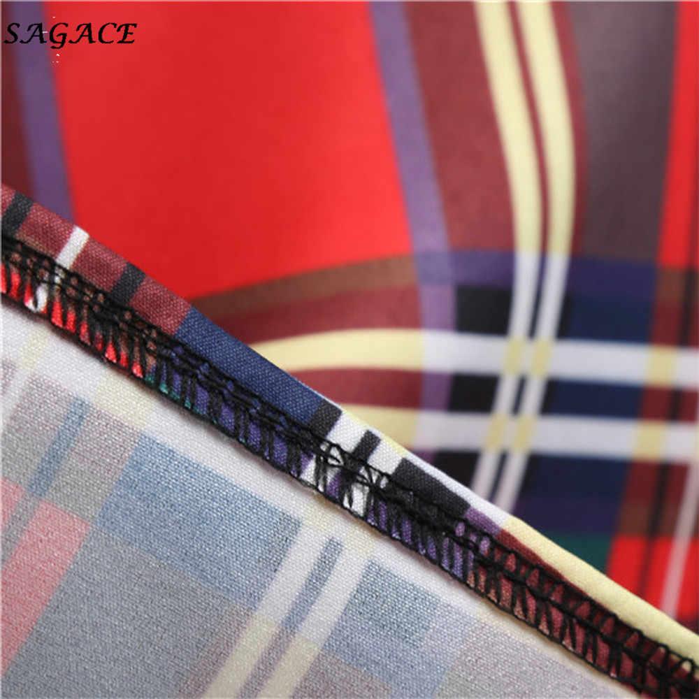 Sagace ผู้หญิงพิมพ์ลายสก๊อต VINTAGE Pach-ทำงาน Stitching ชุดผ้าฝ้ายแขนสั้น S,M,L,XL,XXL,XXXL,XXXXL ชุด