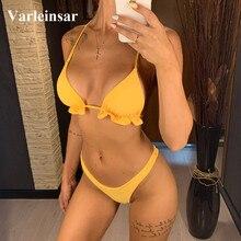 Ruffled Bikini Female Swimsuit Swim-Wear Two-Pieces Bathing-Suit HALTER Sexy Women V2371
