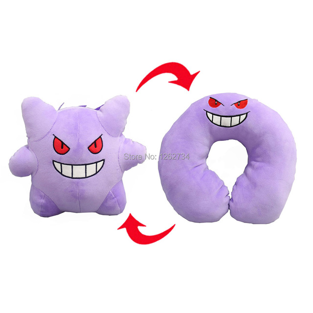 3 Styles Snorlax Gengar Clefairy 28CM Inside-Out U Pillow Plush Doll Animals Soft Figure Toys Retail