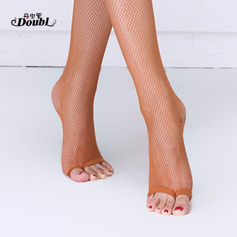 DOUBL Toes Wear Resistant Practice Socks Latin Dance Professional Fishnet Socks Adult Brown Color Practice Latin Socks Workout