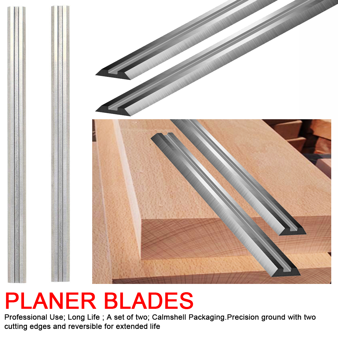 """8"""" 210mm HSS Thickness Planer Blades 210x16.5x1.5mm Wood Planer Knife For Woodworking Power Tool Parts MTPB210"""