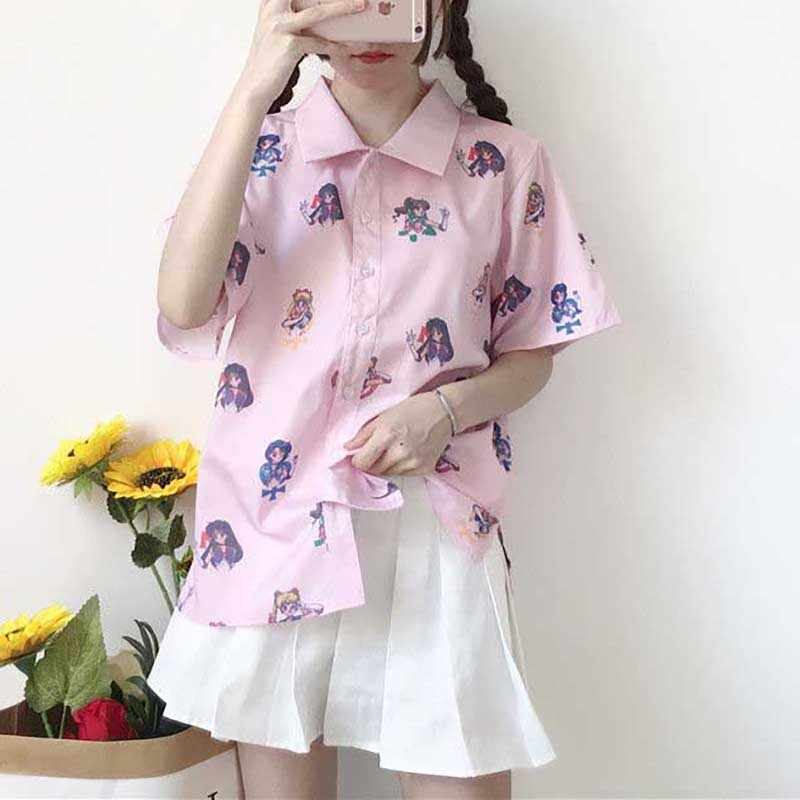 NiceMix 2019 lato Harajuku z krótkim rękawem bluzka kobiety drukuj Sailor Moon panie kawaii bluzki koszula Casual Plus Size kobiet Blusas