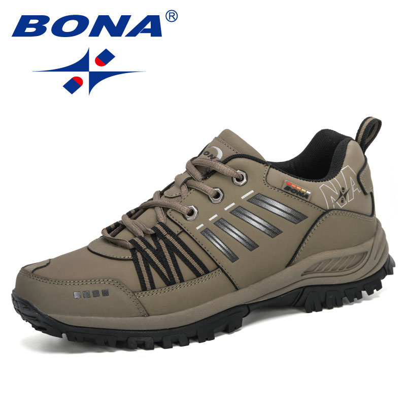 BONA 2020 New Arrival Action Leather Running Shoes Men Comfortable Sneakers Outdoor Walking Sport Shoes Man Lace-Up Footwear