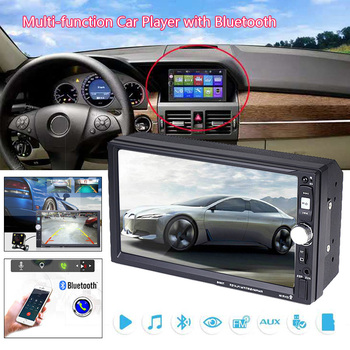 Car MP5 Player 7 Touch Screen Car Radio Dash Bluetooth USB FM AM Radio Multimedia Player with Steering Wheel Remote Control image