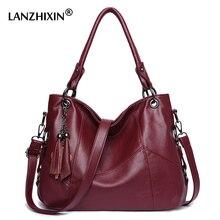 Lanzhixin Frauen Leder Handtaschen Frauen Messenger Taschen Designer Umhängetasche Frauen Bolsa Top griff Taschen Tote Schulter Taschen 819S