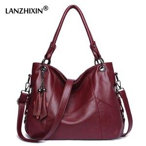 Image 1 - Lanzhixin Women Leather Handbags Women Messenger Bags Designer Crossbody Bag Women Bolsa Top handle Bags Tote Shoulder Bags 819S