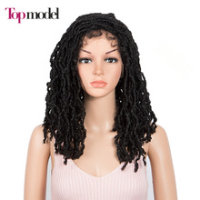 Modelo ganchillo peluca con trenzas negro de ganchillo de las mujeres giro Peluca de pelo giros del pelo con el pelo del bebé sintético peluca con malla frontal