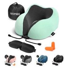 Oreiller de voyage confortable en forme de U, respirant, en mousse à mémoire de forme Pure, avec masque, bouchon d'oreille, sac de rangement pour les vols en avion
