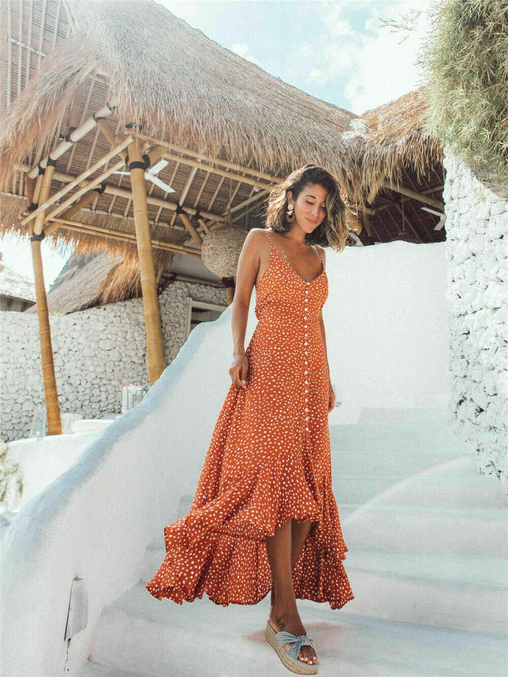 Yerel stok kadınlar Boho Polka Dot seksi Bodycon kısa kollu O boyun nokta elbise bayanlar yaz tatil Mini Sundress Beachwear sıcak
