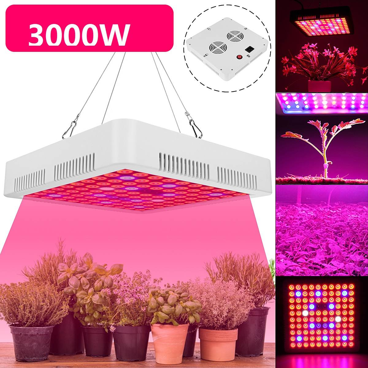 3000W LED Grow Lights Lamp Panel Hydroponic Plant Growing Full Spectrum For Veg Flower Indoor Plant Seeds AC85-265V Black/White