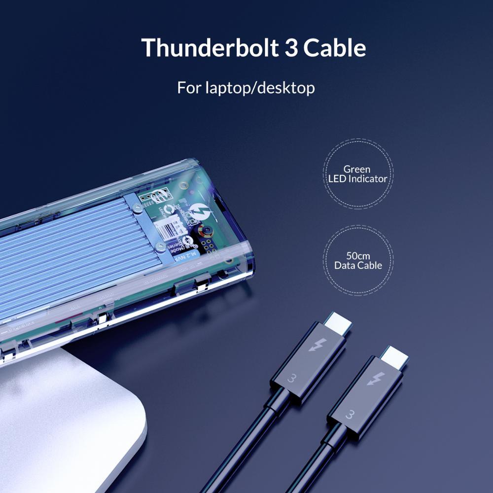 Image 4 - Корпус SSD ORICO Thunderbolt 3 40 Гбит/с M.2 NVME, прозрачный корпус 2 ТБ USB C SSD с кабелем 40 Гбит/с C C для Mac и WindowsКорпус жесткого диска    АлиЭкспресс