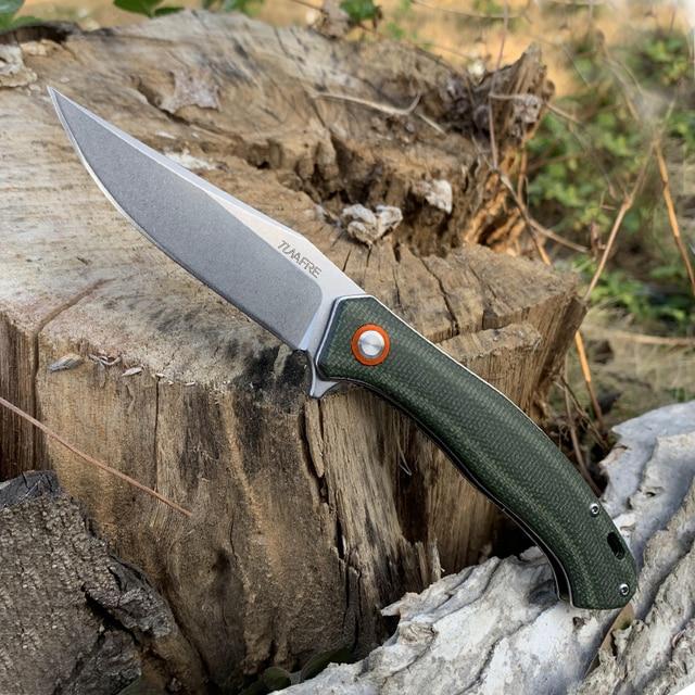 TUNAFIRE Portable folding knife 59-60 high hardness D2 camping self-defense survival knife self-defense knife 2