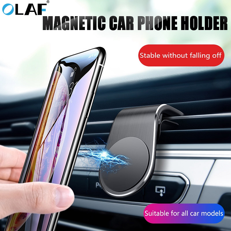 Olaf Magnetic Car Phone Holder L Shape Air Vent Mount Stand In Car GPS Mobile Phone Holder For IPhone X Samsung S9 Xiaomi Mi 9