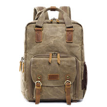 ABHU-Batik Waterproof Canvas Digital Slr Photo Backpack Durable Photographer Padded Camera Bag For Camera Lens
