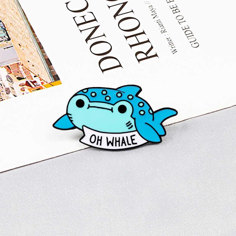Oh Whale Kartun Bros Pin Biru Ikan Hewan Laut Enamel Kerah Pin Wanita Fashion Tombol Lencana Perhiasan untuk Hadiah Kekasih koleksi
