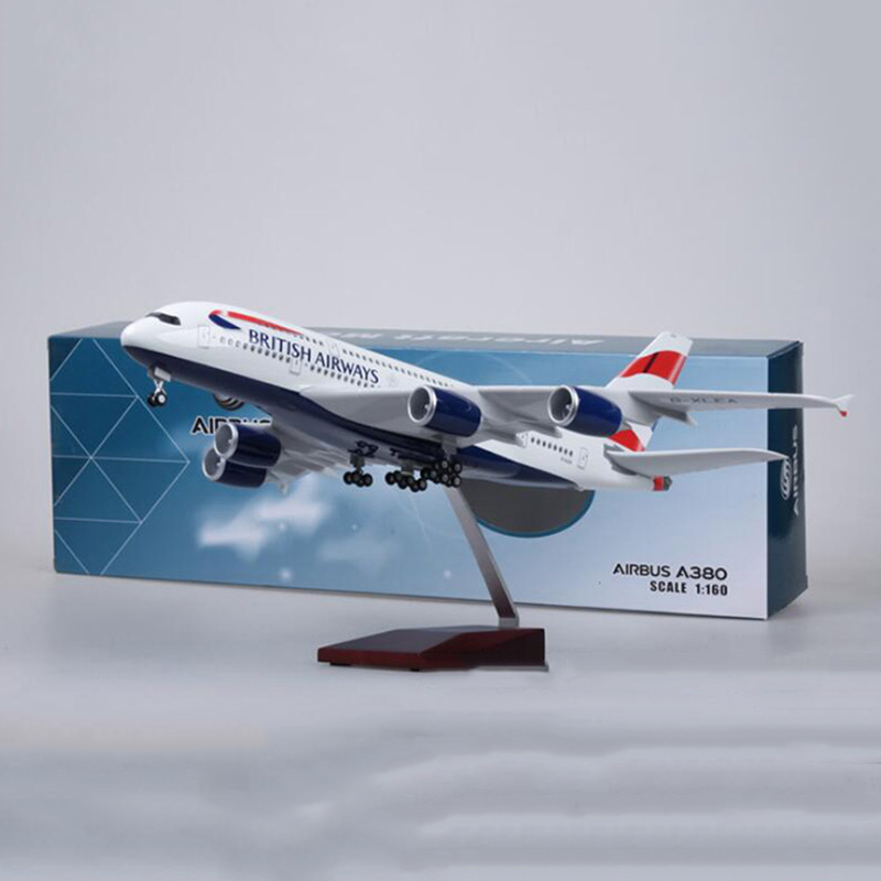 1/160 Scale 50.5CM Alloy Airbus A380 BRITISH Airline Airplane Model W Light & Wheel Diecast Plastic Resin Plane For Collection image