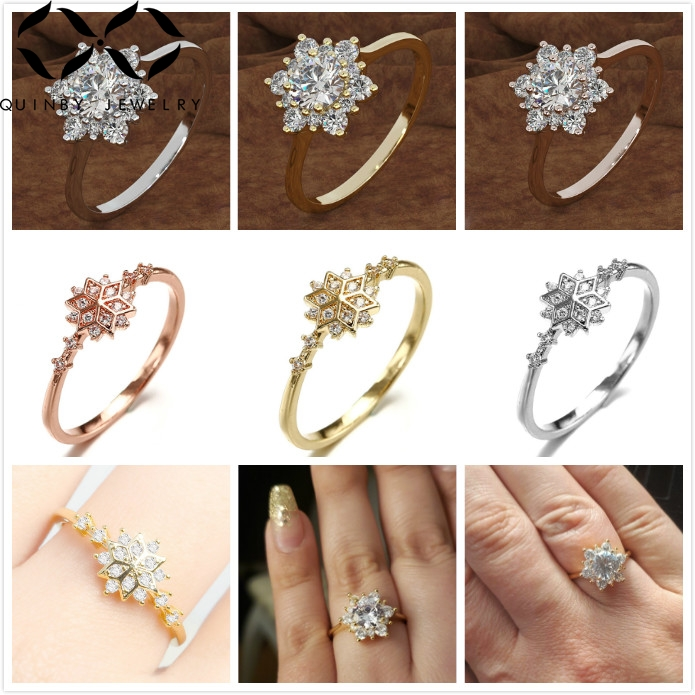 Quinby Dainty Crystal Flower Rings For Women 925 Sterling Silver Ring Wedding Engagement Ring Zircon Rose Gold Girl anillos Q5