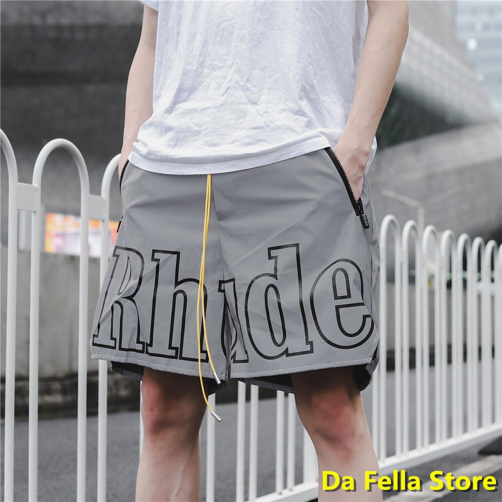 2020 RHUDE Shorts Gray Color Men Women Reflective Effect Rhude Shorts Inside Tag US/EU Size Oversize Knee Length UK