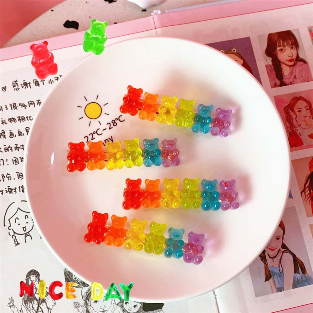 Candy Color Jelly Bear Hair Clips Women Girl Cartoon Transparent Bear Barrette Fashion Jewelry