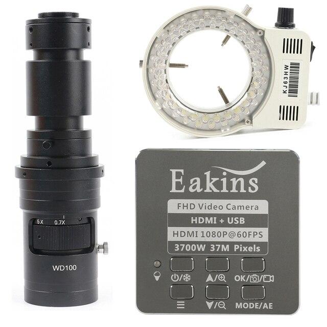 1080p 37MP hdmi usb工業用ラボデジタルビデオ顕微鏡カメラ + 200X 500X 130X cマウントレンズ + 56 ledリングライト