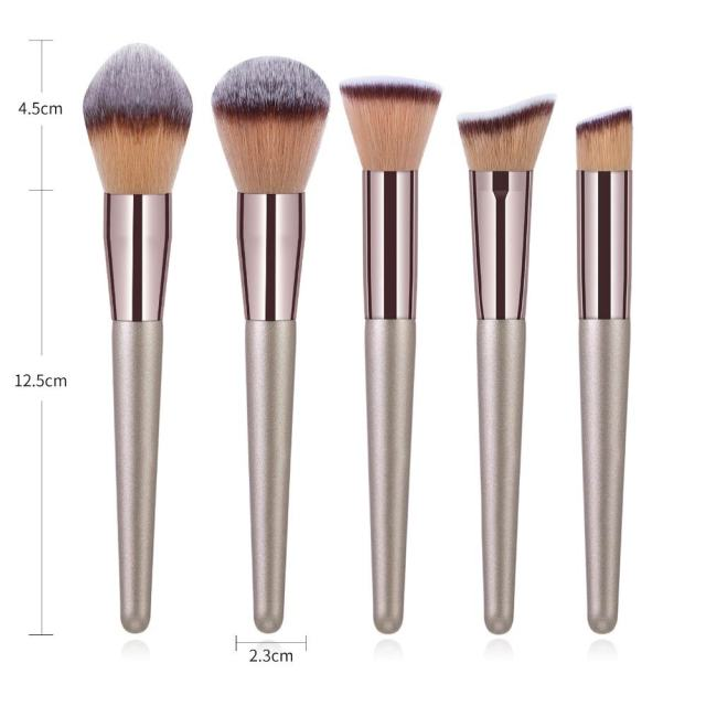 10pcs Champagne Makeup Brushes Set Foundation Powder Blush Eyeshadow Concealer Lip Eye Make Up Brush Cosmetics For Make Up Tools 3