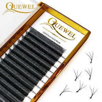 Quewel W Shape Individual Volume Eyelashes W Style Double Tip Eyelash Extensions Fans C/D Curl New False Eye Lash Makeup Tool 1