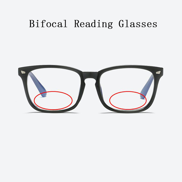Women Bifocal Reading Glasses magnifier Men Rivets Retro Square Look Near Far Presbyopia Spectacles Can Custom Prescription N5