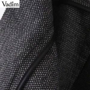Image 3 - Vadim women elegant solid wide leg pants side zipper European style female office wear casual trousers pantalones mujer KB227