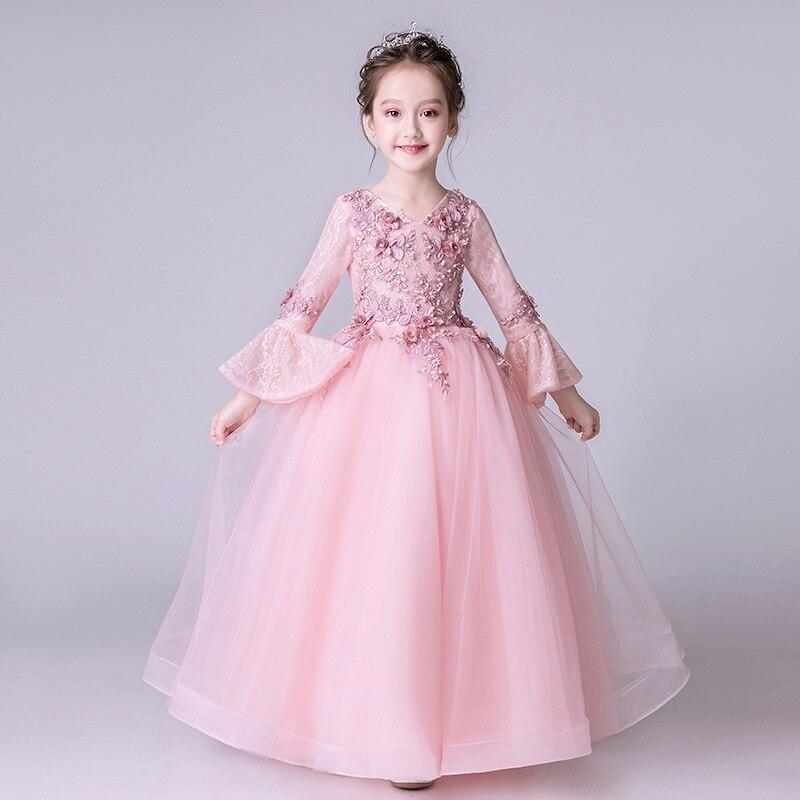 Dresses Of Bride Fellow Kids Wedding Dress Princess Dress Long Skirts Girls Piano Costume Long Sleeve Small Model Catwalks Child